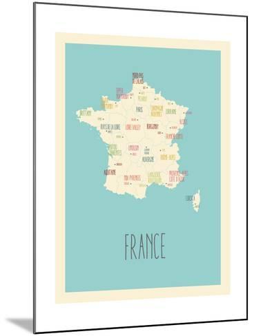 Blue France Map-Kindred Sol Collective-Mounted Art Print