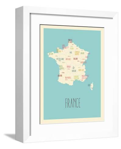 Blue France Map-Kindred Sol Collective-Framed Art Print