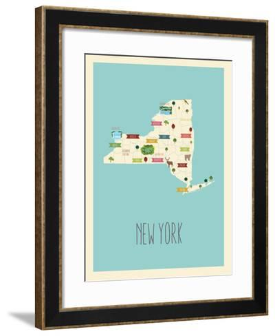 New Your Blue Map-Kindred Sol Collective-Framed Art Print