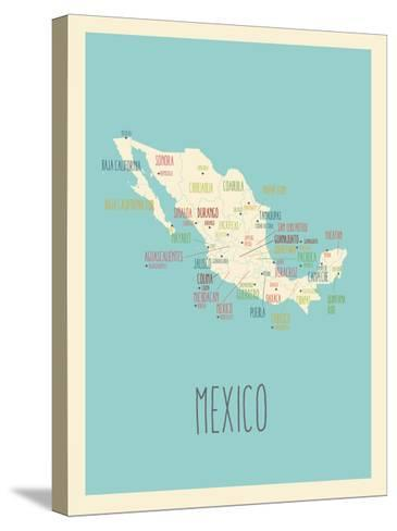 Blue Mexico Map-Rebecca Lane-Stretched Canvas Print