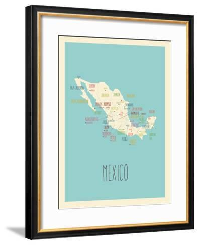 Blue Mexico Map-Rebecca Lane-Framed Art Print