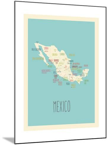 Blue Mexico Map-Rebecca Lane-Mounted Art Print