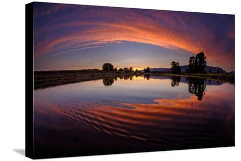 Canoe Sunset-Vladimir Kostka-Stretched Canvas Print