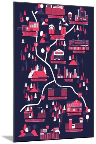 The Walking Dead Map-Robert Farkas-Mounted Art Print