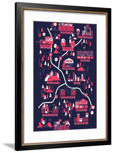 The Walking Dead Map-Robert Farkas-Framed Art Print