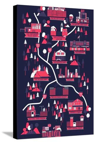 The Walking Dead Map-Robert Farkas-Stretched Canvas Print
