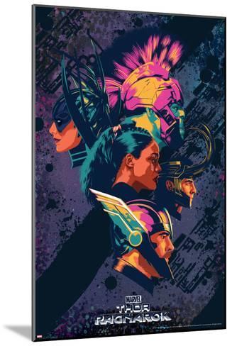 Thor: Ragnarok - Thor, Hulk, Valkyrie, Loki, Hela--Mounted Art Print