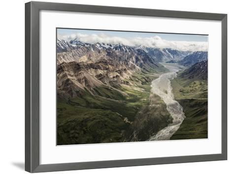 Aerial View of a Flowing River in Denali National Park and Preserve-Aaron Huey-Framed Art Print