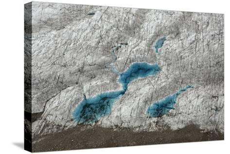 Aerial View of Glacial Pools on Ruth Glacier in Denali National Park and Preserve-Aaron Huey-Stretched Canvas Print