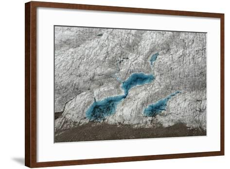 Aerial View of Glacial Pools on Ruth Glacier in Denali National Park and Preserve-Aaron Huey-Framed Art Print
