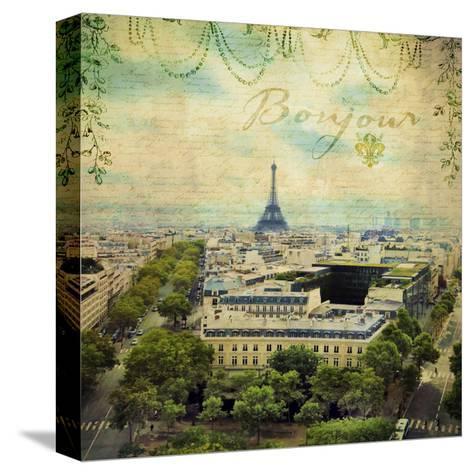 Eiffel Romance V-Sandy Lloyd-Stretched Canvas Print