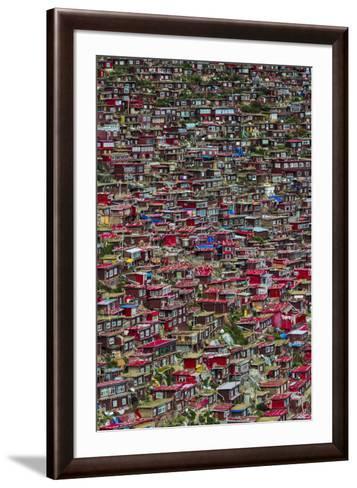 Red log cabins, Seda Larung Wuming, Garze, Sichuan Province, China-Keren Su-Framed Art Print