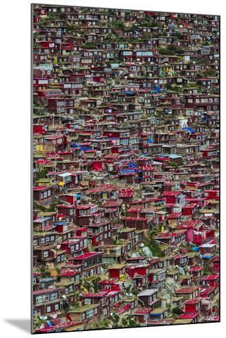 Red log cabins, Seda Larung Wuming, Garze, Sichuan Province, China-Keren Su-Mounted Photographic Print