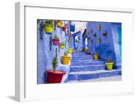 North Africa, Morocco, Traiditoional blue streets of Chefchaouen.-Emily Wilson-Framed Art Print