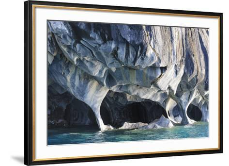 Chile, Aysen, Puerto Rio Tranquilo, Marble Chapel Natural Sanctuary. Limestone formations.-Fredrik Norrsell-Framed Art Print