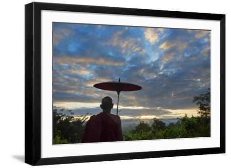 Monk watching ancient temple and pagoda at sunrise, Mrauk-U, Rakhine State, Myanmar-Keren Su-Framed Art Print