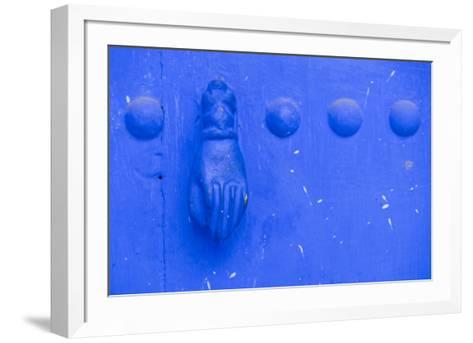North Africa, Morocco, Traiditoional Moroccan door detail of Chefchaouen.-Emily Wilson-Framed Art Print
