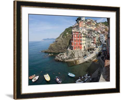 View of little harbor of Riomaggiore, La Spezia, Liguria, Italy--Framed Art Print