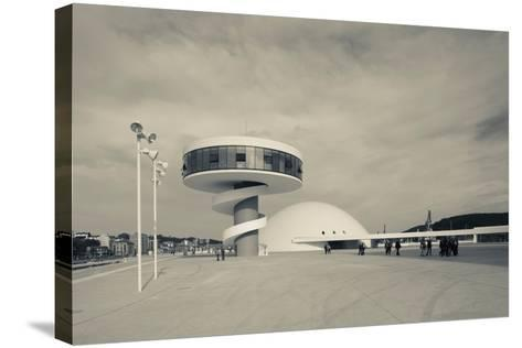 Tourists at The Oscar Niemeyer International Cultural Centre--Stretched Canvas Print