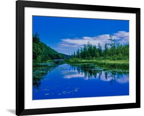 Reflection of clouds on water, Oxbow Lake, New York State Route 28, Speculator, Hamilton County...--Framed Art Print
