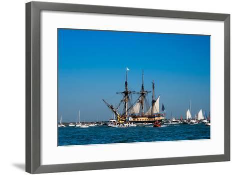 L'Hermione ship in the estuary of Charente, Charente-Maritime, Poitou-Charentes, France--Framed Art Print