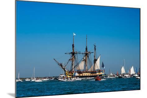 L'Hermione ship in the estuary of Charente, Charente-Maritime, Poitou-Charentes, France--Mounted Photographic Print