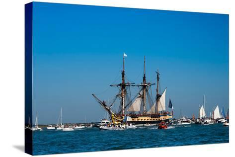 L'Hermione ship in the estuary of Charente, Charente-Maritime, Poitou-Charentes, France--Stretched Canvas Print