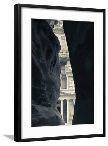 First glimpse of the red sandstone walls of Al-Khazneh (the Treasury), viewed through the narrow...--Framed Art Print