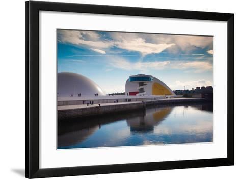 Reflection of a building on water, The Oscar Niemeyer International Cultural Centre, Aviles, Ast...--Framed Art Print