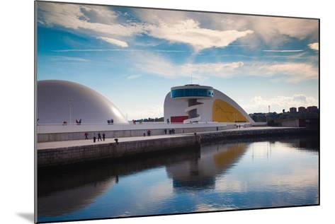 Reflection of a building on water, The Oscar Niemeyer International Cultural Centre, Aviles, Ast...--Mounted Photographic Print