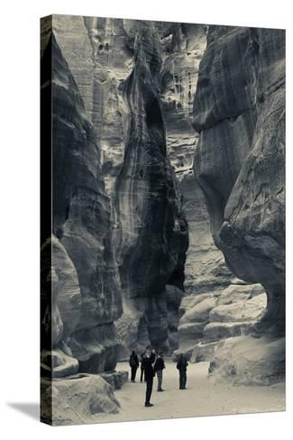 Tourists walking through the Siq, Petra, Wadi Musa, Jordan--Stretched Canvas Print