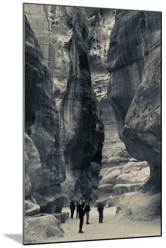 Tourists walking through the Siq, Petra, Wadi Musa, Jordan--Mounted Photographic Print