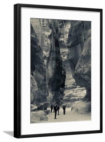 Tourists walking through the Siq, Petra, Wadi Musa, Jordan--Framed Art Print