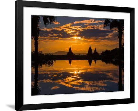 Sunset reflected in the infinity pool at Aureum Palace Hotel, Bagan, Mandalay Region, Myanmar--Framed Art Print