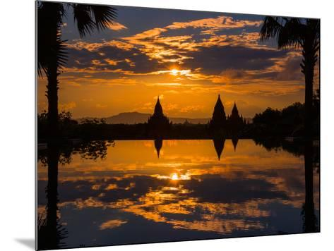 Sunset reflected in the infinity pool at Aureum Palace Hotel, Bagan, Mandalay Region, Myanmar--Mounted Photographic Print