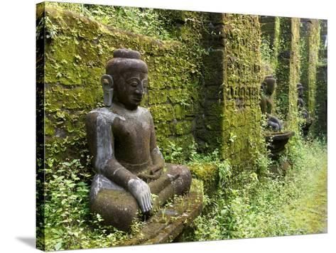 Buddha statues at Koe Thaung temple built by King Min Taik Kha, Mrauk U, Rakhine State, Myanmar--Stretched Canvas Print