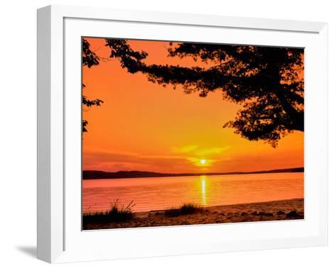 Scenic view of lake at dusk, Sand Point, Pictured Rocks National Lakeshore, Upper Peninsula, Alg...--Framed Art Print