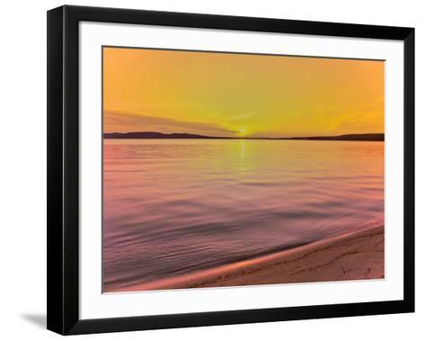 Scenic view of lake at dusk, Sand Point, Pictured Rocks National Lakeshore, Upper Peninsula, Alg...--Framed Art Print