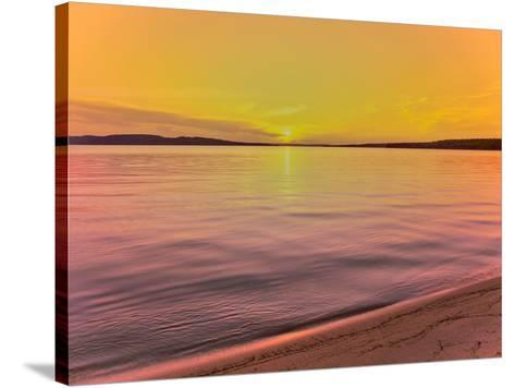 Scenic view of lake at dusk, Sand Point, Pictured Rocks National Lakeshore, Upper Peninsula, Alg...--Stretched Canvas Print