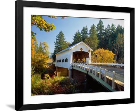 Covered bridge over a river, Rochester Covered Bridge, Calapooia River, Douglas County, Oregon, USA--Framed Art Print