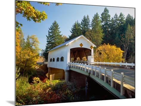Covered bridge over a river, Rochester Covered Bridge, Calapooia River, Douglas County, Oregon, USA--Mounted Photographic Print