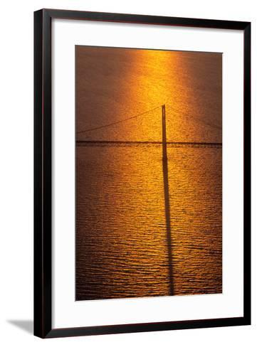 Mackinac Bridge at sunset, Mackinac, Michigan, USA--Framed Art Print