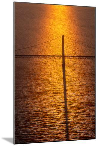 Mackinac Bridge at sunset, Mackinac, Michigan, USA--Mounted Photographic Print