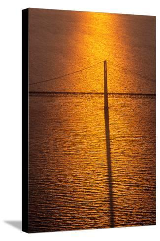 Mackinac Bridge at sunset, Mackinac, Michigan, USA--Stretched Canvas Print