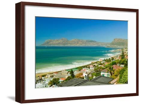 Elevated view of False Bay and Indian Ocean, overlooking St. James and Fish Hoek, outside of Cap...--Framed Art Print