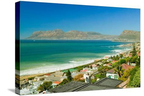 Elevated view of False Bay and Indian Ocean, overlooking St. James and Fish Hoek, outside of Cap...--Stretched Canvas Print