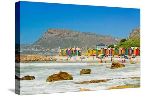 Bright Crayon-Colored Beach Huts at St James, False Bay on Indian Ocean, outside of Cape Town, S...--Stretched Canvas Print