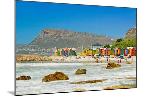 Bright Crayon-Colored Beach Huts at St James, False Bay on Indian Ocean, outside of Cape Town, S...--Mounted Photographic Print