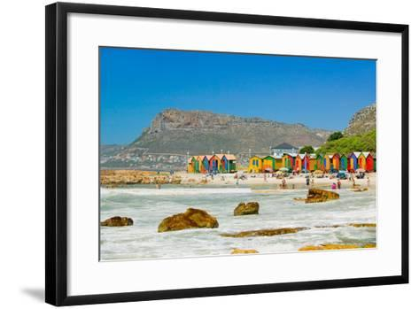 Bright Crayon-Colored Beach Huts at St James, False Bay on Indian Ocean, outside of Cape Town, S...--Framed Art Print