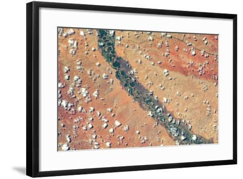 Satellite view of clouds and Tana River near Garissa, Kenya--Framed Art Print